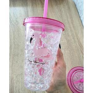 Охлаждающий стакан с трубочкой Фламинго