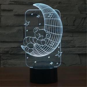 Светодиодный 3D светильник медвежонок на луне